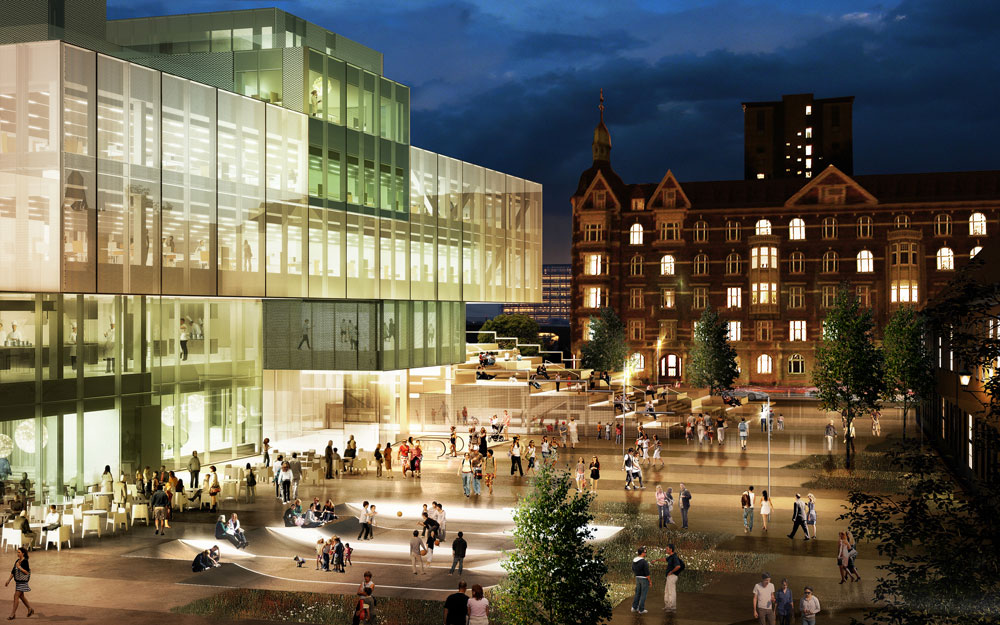 The square at dusk. Illustration: OMA rendering