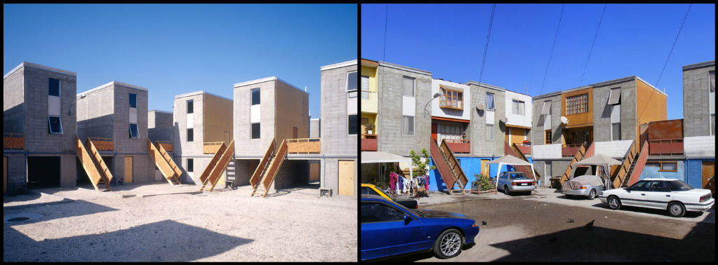 Quinta Monroy housing before and after extension and customization. Photo: Tadeuz Jalocha (before) / ELEMENTAL (after)